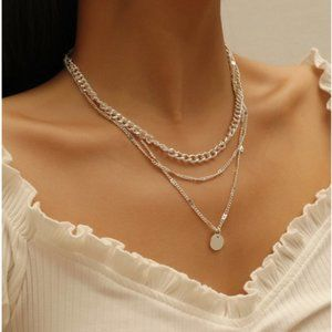 5 for $25 Silver Three Layer Medallion Necklace